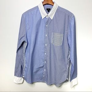 J. CREW Blue & White Striped Slim Fit Button Down